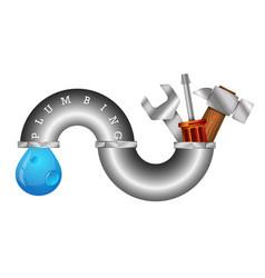 Symbol of plumbing repair with tool vector