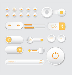 Rounded buttons set orange web vector