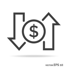 Dollar rate outline icon black color vector
