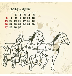 April 2014 hand drawn horse calendar vector image