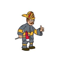 Fireman Firefighter Axe Thumbs Up Cartoon vector image