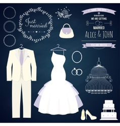 Wedding dresse and groom suit with different vector