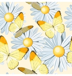 Camomile and butterfly seamless vector