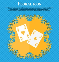 Two Aces icon Floral flat design on a blue vector image