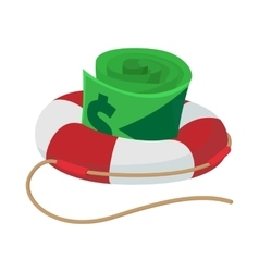 Dollar bills in lifebuoy icon cartoon style vector
