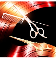 Hair and cutting scissors vector image