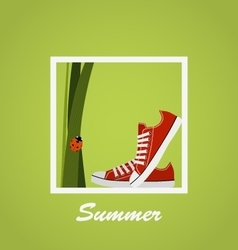 Red sneakers shoes grass ladybug summer vector