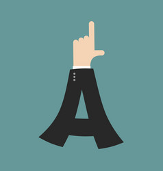 A letter businessman hand font it shows finger vector