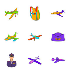 Air force icons set cartoon style vector