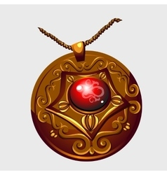 Ancient golden amulet pendant with red stone vector