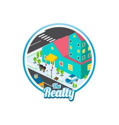 Big city isometric real estate realty cartoon vector