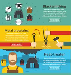 Blacksmith metal banner horizontal set flat style vector