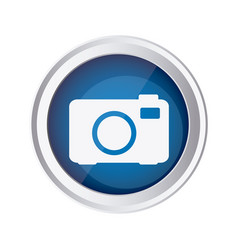 Blue emblem camera icon vector
