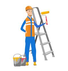 Caucasian house painter holding paint roller vector