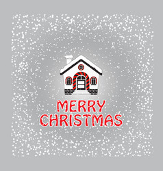 christmas greeting card with snow-covered house vector image vector image