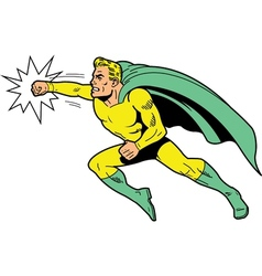 Classic superhero throwing a punch vector image