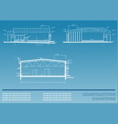 construction drawings on a blue background vector image vector image