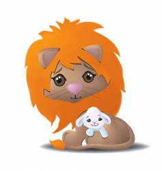 cute lion and lamb vector image vector image