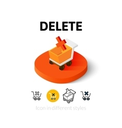 Delete icon in different style vector