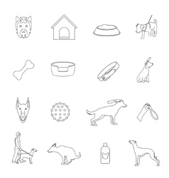 Dog icons outline vector