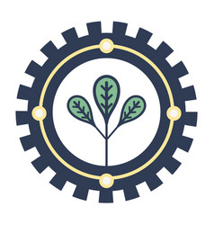 Emblem of leaves symbol to ecology care vector