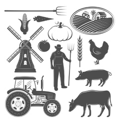 Farm monochrome elements set vector