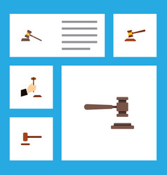 Flat icon court set of legal court defense and vector