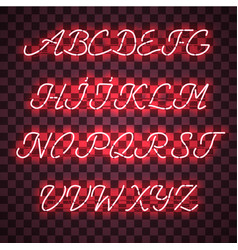 Glowing red neon uppercase script font vector