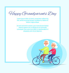 happy grandparents day senior couple on bicycle vector image