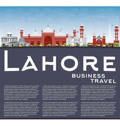 Lahore Skyline with Color Landmarks vector image
