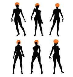 Naked sexy girls silhouette set vector image