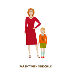 Parent with one child cartoon vector