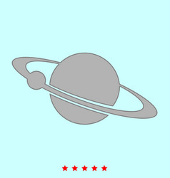 planet with satellite on the ring it is icon vector image