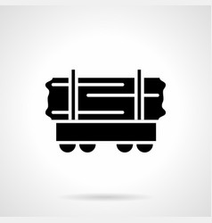 rail car of wood glyph style icon vector image vector image