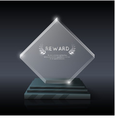 realistic crystal glass trophy award vector image vector image