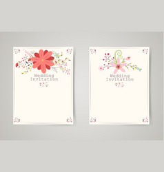 Retro beautiful flower invitation banners vector
