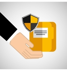 Security concept hand with folder vector