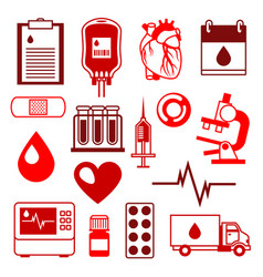 set of blood donation items medical and health vector image vector image