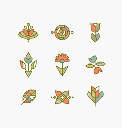 set of isolated abstract flowers and plants vector image