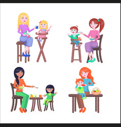 Set of mothers and children happy mother day set vector