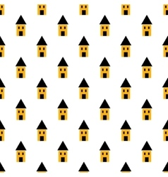 Simple yellow and black houses seamless pattern vector