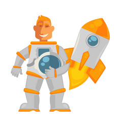 spaceman in pressure suit and spaceship that takes vector image vector image
