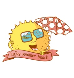 Sun character with parasol vector