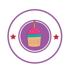 Sweet cupcake celebration icon vector