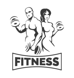 Training bodybuilders fitness emblem vector