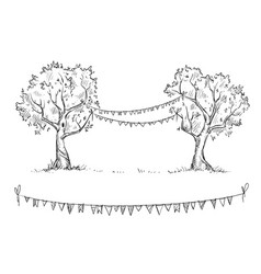 trees with flags vector image vector image
