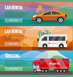 Trucking and car rental banners vector