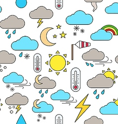 Weather forecast colorful pattern icons vector image vector image