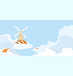 windmill in the clouds vector image vector image