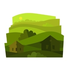 Landscape with shrubs vector